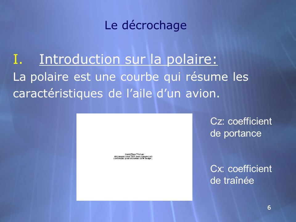 66 Le décrochage I.Introduction sur la polaire: La polaire est une courbe qui résume les caractéristiques de laile dun avion. I.Introduction sur la po