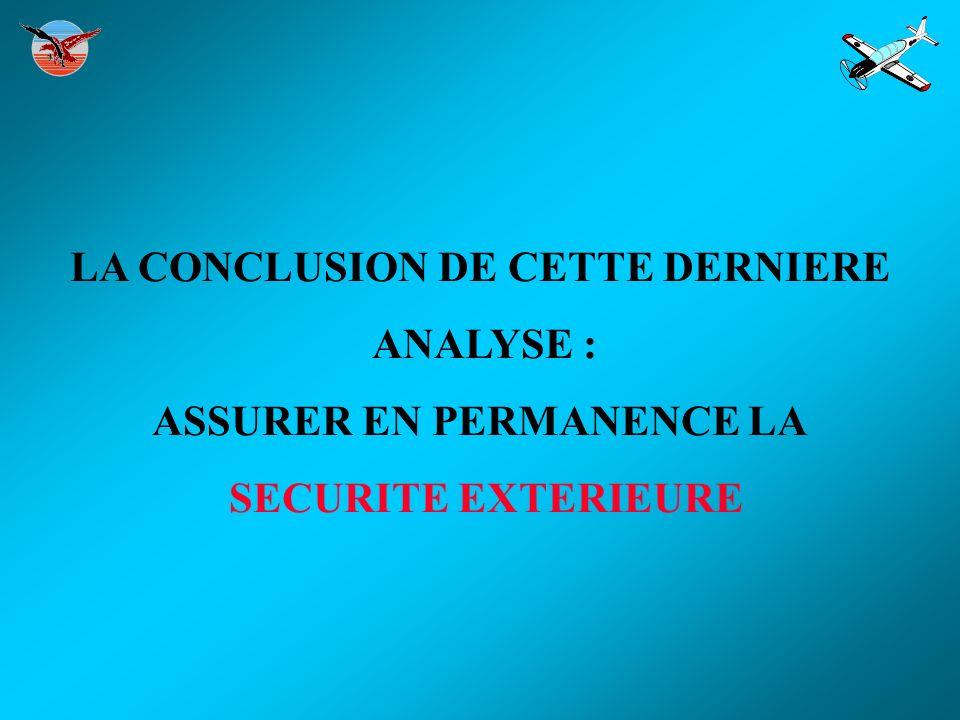 LA CONCLUSION DE CETTE DERNIERE ANALYSE : ASSURER EN PERMANENCE LA SECURITE EXTERIEURE