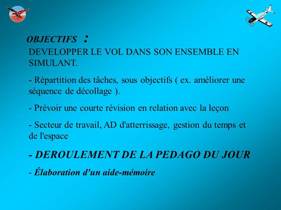 OBJECTIFS : DEVELOPPER LE VOL DANS SON ENSEMBLE EN SIMULANT. - Répartition des tâches, sous objectifs ( ex. améliorer une séquence de décollage ). - P
