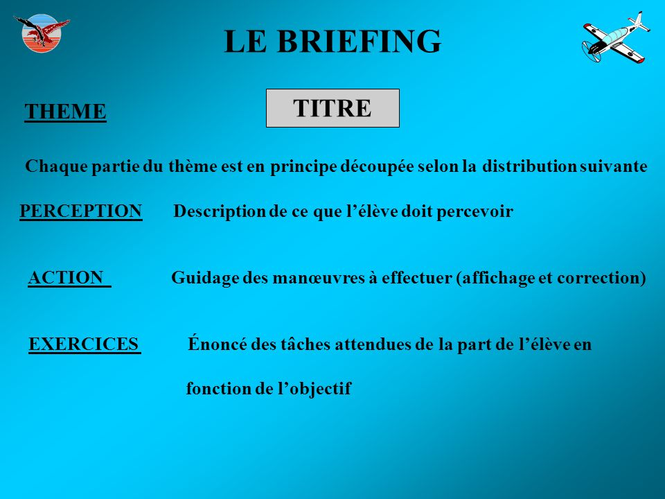 LE BRIEFING TITRE THEME Chaque partie du thème est en principe découpée selon la distribution suivante PERCEPTION Description de ce que lélève doit pe