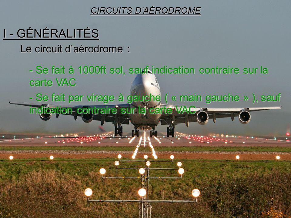 17 I - GÉNÉRALITÉS CIRCUITS DAÉRODROME Le circuit daérodrome : - Se fait à 1000ft sol, sauf indication contraire sur la carte VAC - Se fait par virage