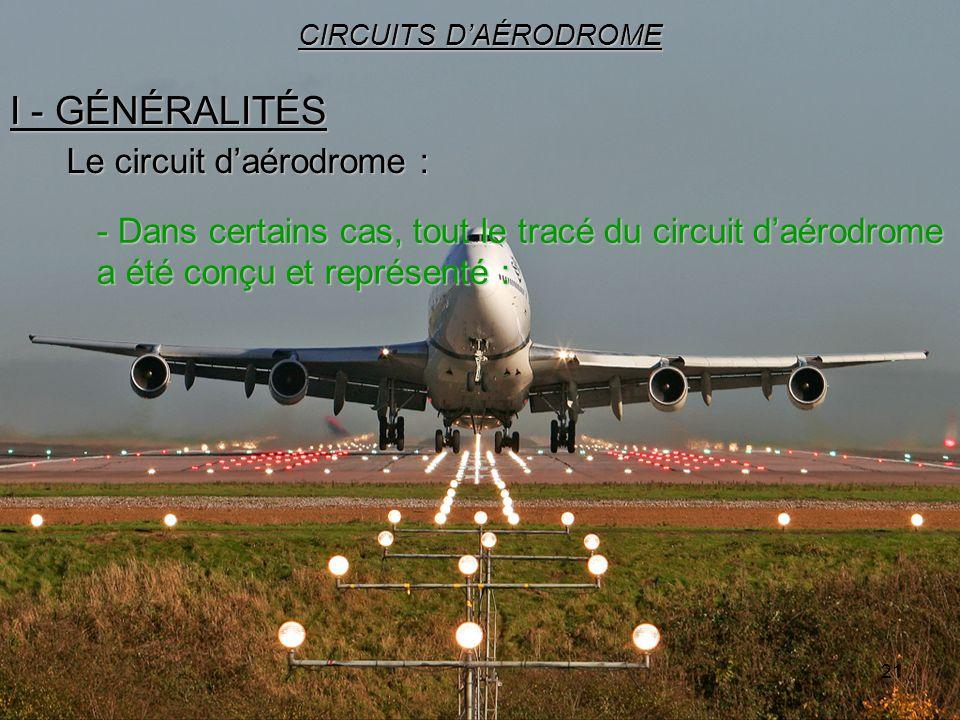 21 I - GÉNÉRALITÉS CIRCUITS DAÉRODROME Le circuit daérodrome : - Dans certains cas, tout le tracé du circuit daérodrome a été conçu et représenté :