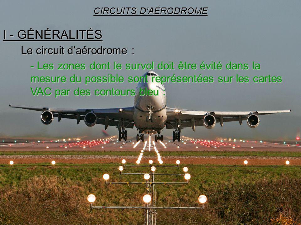 26 I - GÉNÉRALITÉS CIRCUITS DAÉRODROME Le circuit daérodrome : - Les zones dont le survol doit être évité dans la mesure du possible sont représentées
