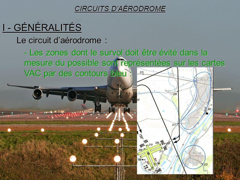 27 I - GÉNÉRALITÉS CIRCUITS DAÉRODROME Le circuit daérodrome : - Les zones dont le survol doit être évité dans la mesure du possible sont représentées