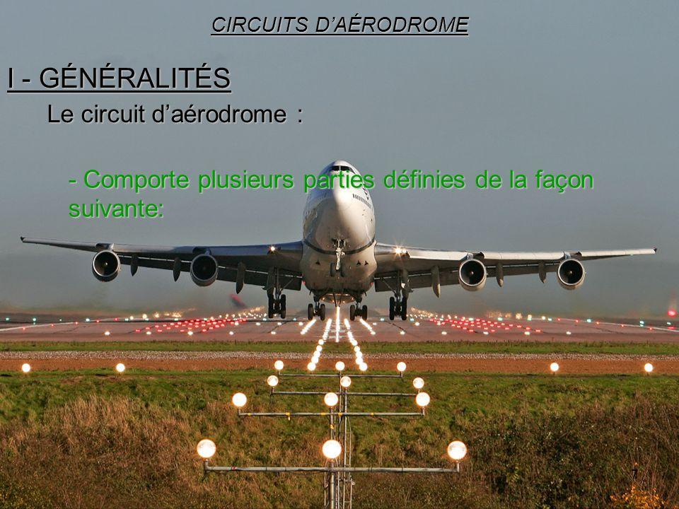 7 I - GÉNÉRALITÉS CIRCUITS DAÉRODROME Le circuit daérodrome : - Comporte plusieurs parties définies de la façon suivante: