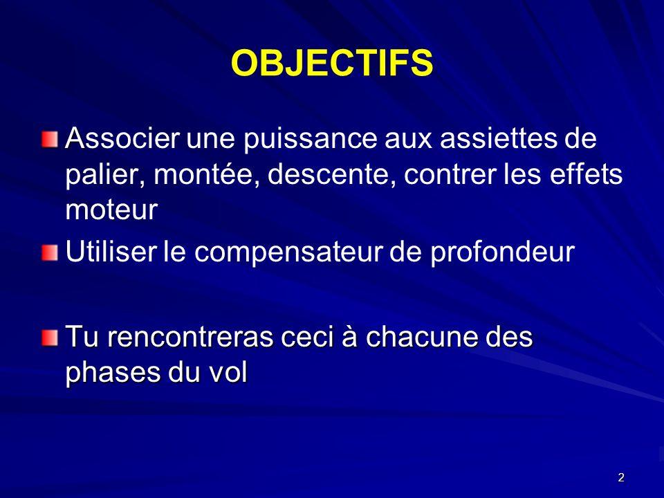 2 OBJECTIFS A Associer une puissance aux assiettes de palier, montée, descente, contrer les effets moteur Utiliser le compensateur de profondeur Tu re