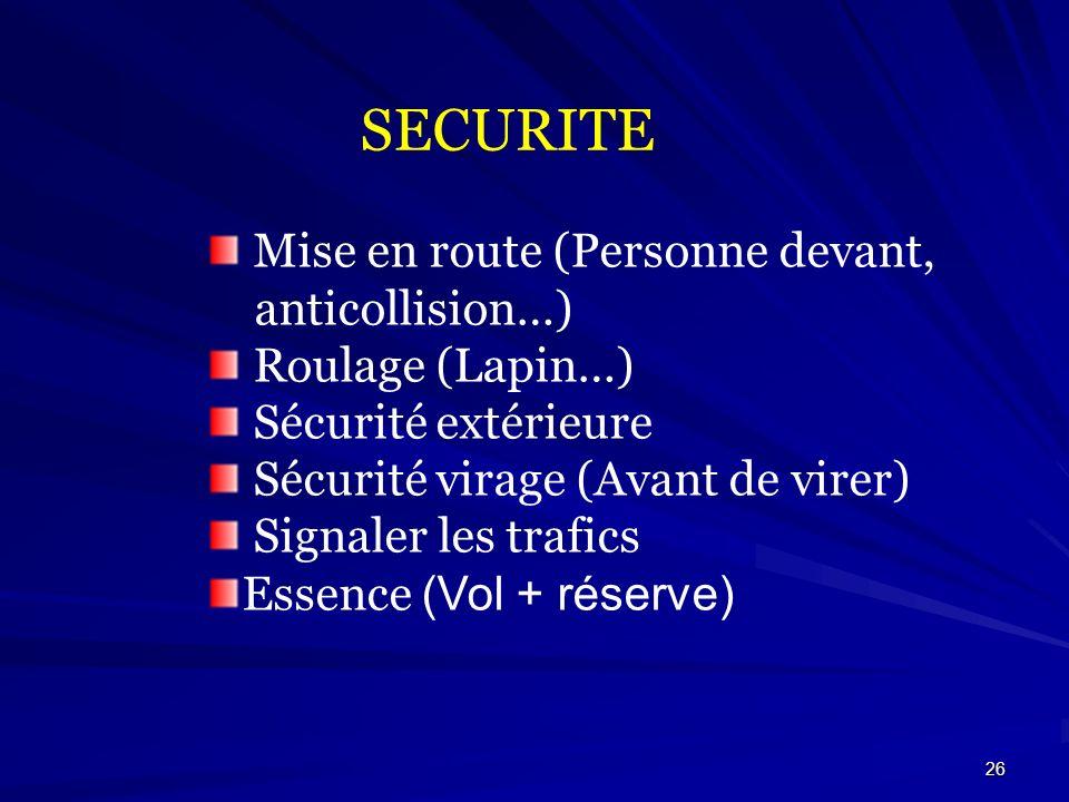 26 SECURITE Mise en route (Personne devant, anticollision…) Roulage (Lapin…) Sécurité extérieure Sécurité virage (Avant de virer) Signaler les trafics