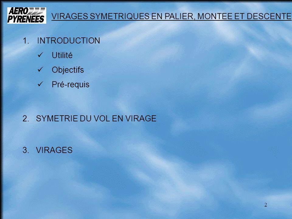 2 1.INTRODUCTION Utilité Objectifs Pré-requis 2. SYMETRIE DU VOL EN VIRAGE 3. VIRAGES