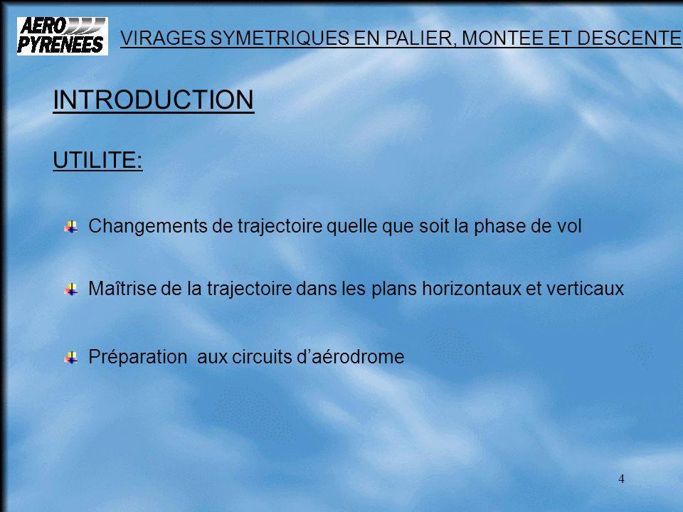 4 VIRAGES SYMETRIQUES EN PALIER, MONTEE ET DESCENTE INTRODUCTION UTILITE: Changements de trajectoire quelle que soit la phase de vol Préparation aux c