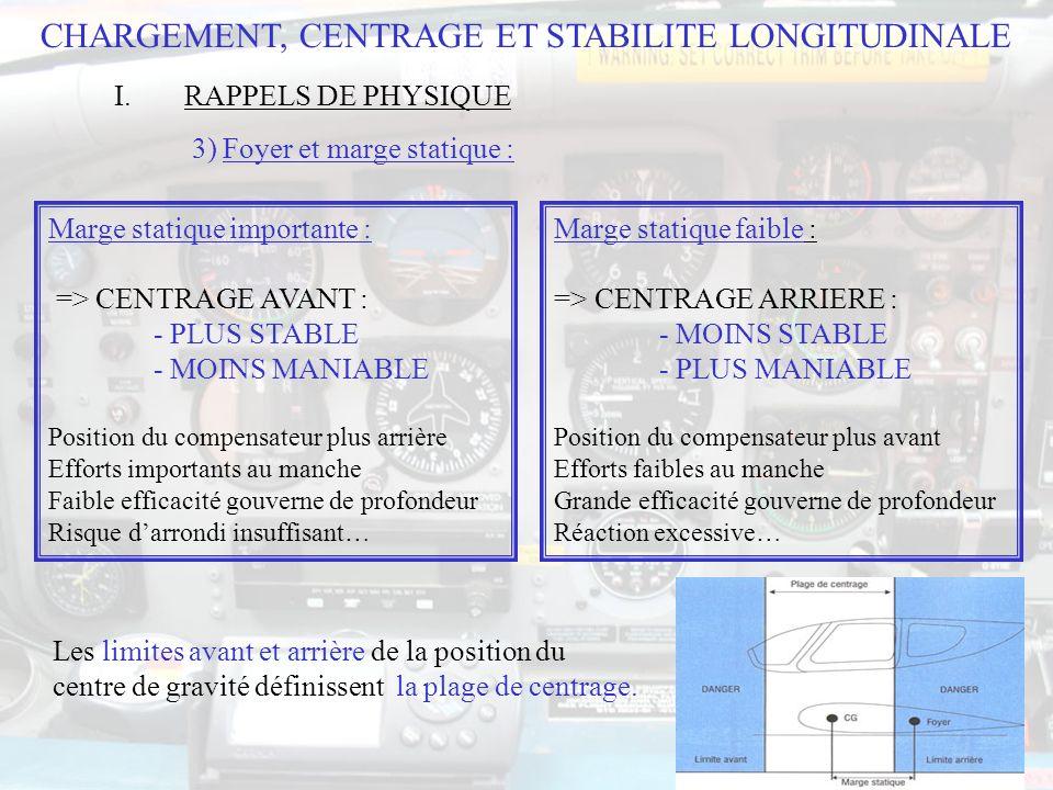 118 CHARGEMENT, CENTRAGE ET STABILITE LONGITUDINALE II.MASSES ET CENTRAGE DE LAVION 3) Exemple de calcul de masse et centrage (suite) :