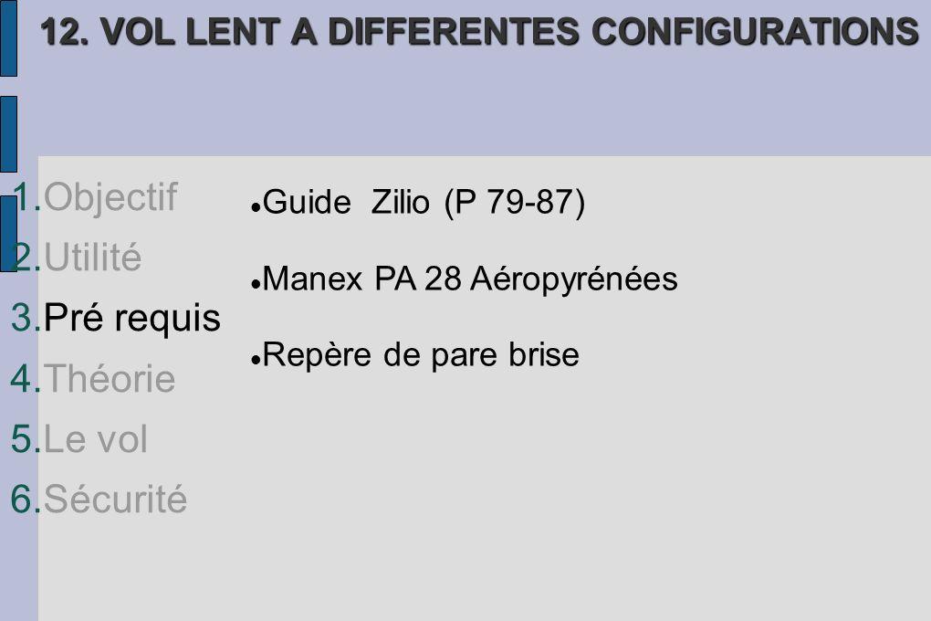 1.Objectif 2.Utilité 3.Pré requis 4.Théorie 5.Le vol 6.Sécurité 12. VOL LENT A DIFFERENTES CONFIGURATIONS Guide Zilio (P 79-87) Manex PA 28 Aéropyréné