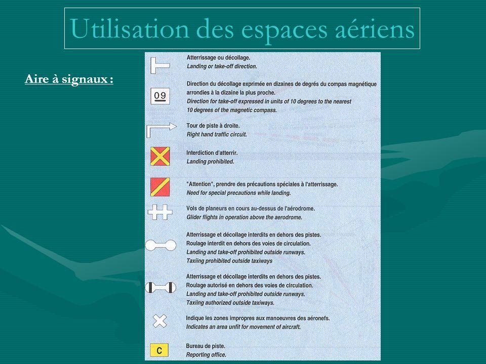 Utilisation des espaces aériens Aire à signaux :