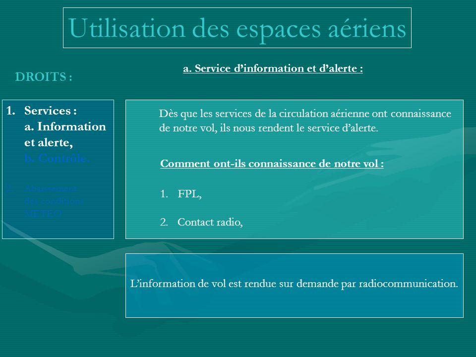 Utilisation des espaces aériens DROITS : 1.Services : a. Information et alerte, b. Contrôle. 2.Abaissement des conditions METEO a. Service dinformatio
