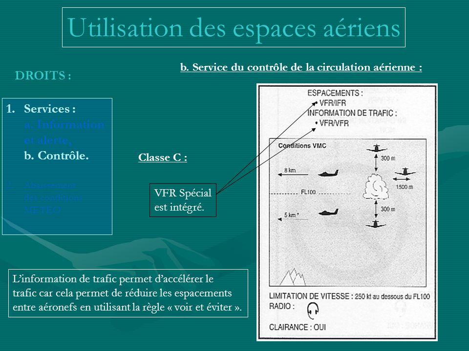 Utilisation des espaces aériens DROITS : 1.Services : a. Information et alerte, b. Contrôle. 2.Abaissement des conditions METEO b. Service du contrôle