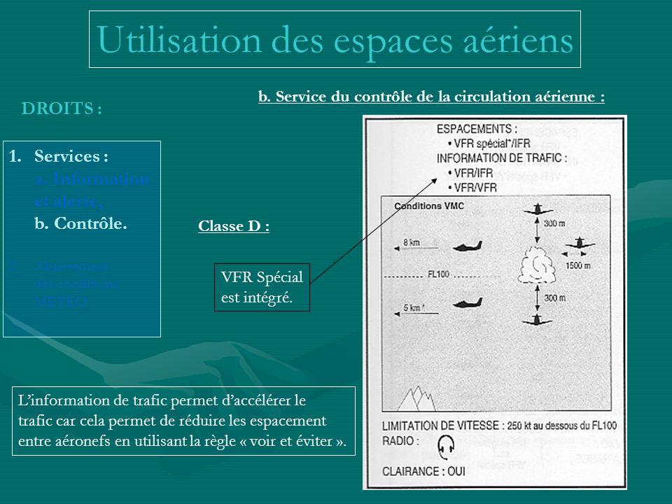 DROITS : 1.Services : a. Information et alerte, b. Contrôle. 2.Abaissement des conditions METEO b. Service du contrôle de la circulation aérienne : Cl
