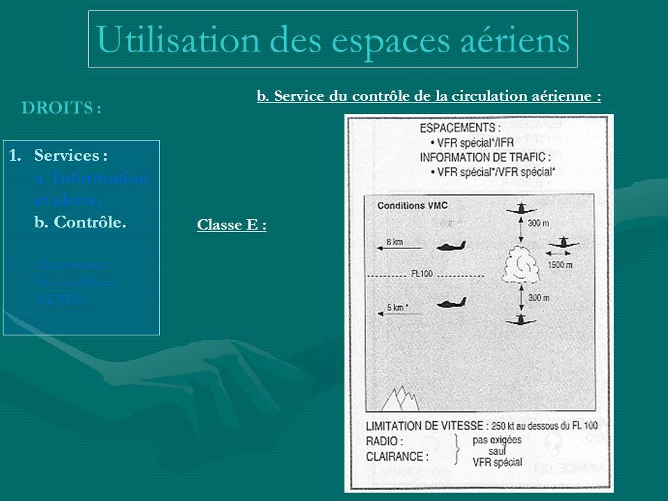 DROITS : 1.Services : a. Information et alerte, b. Contrôle. 2.Abaissement des conditions METEO b. Service du contrôle de la circulation aérienne : Ut