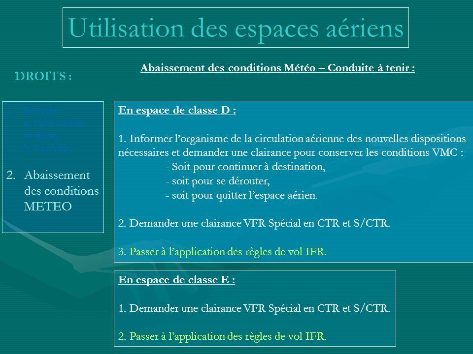DROITS : 1.Services : a. Information et alerte, b. Contrôle. 2.Abaissement des conditions METEO Abaissement des conditions Météo – Conduite à tenir :