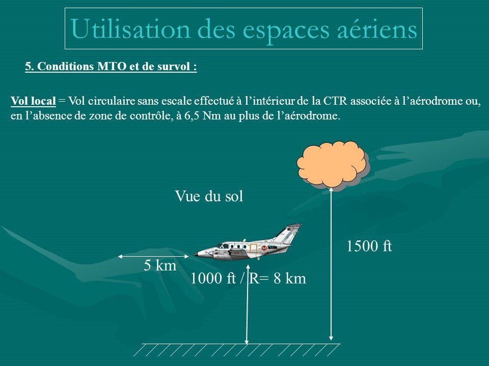 5. Conditions MTO et de survol : Vol local = Vol circulaire sans escale effectué à lintérieur de la CTR associée à laérodrome ou, en labsence de zone