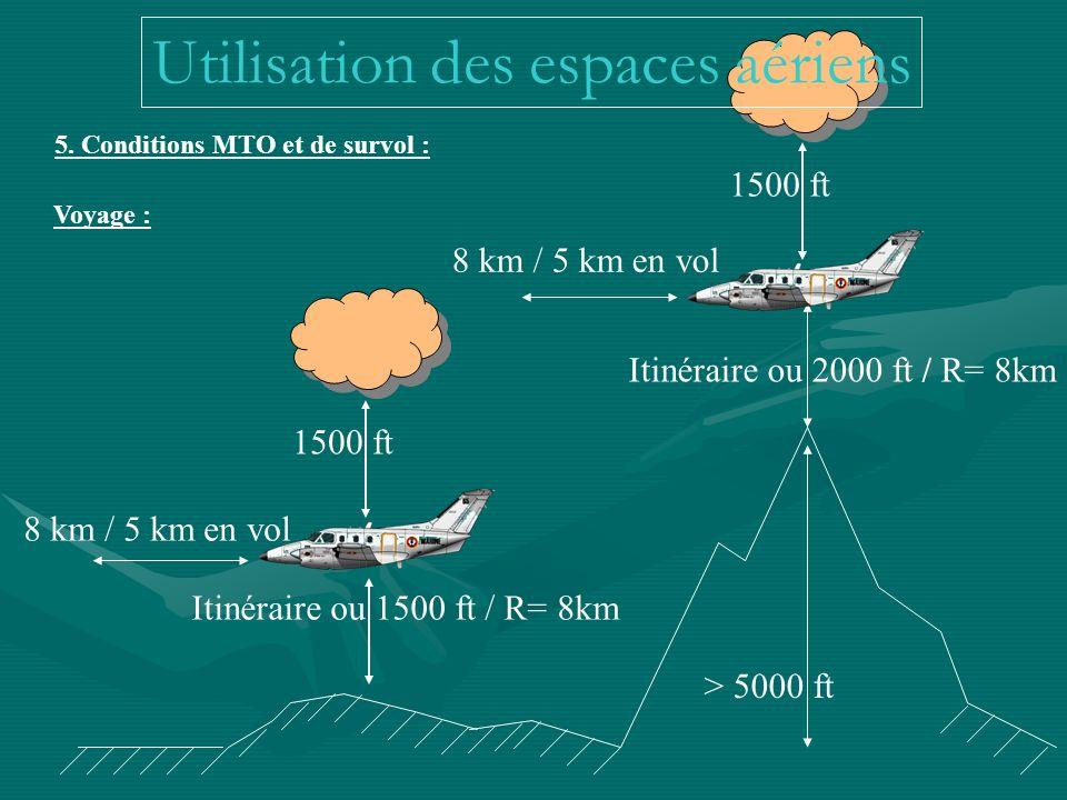 > 5000 ft Itinéraire ou 2000 ft / R= 8km Itinéraire ou 1500 ft / R= 8km 5. Conditions MTO et de survol : 1500 ft 8 km / 5 km en vol Voyage : Utilisati