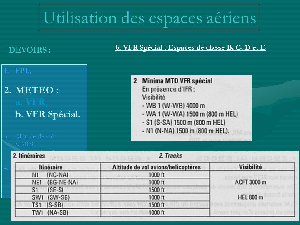 Utilisation des espaces aériens b. VFR Spécial : Espaces de classe B, C, D et E DEVOIRS : 1.FPL, 2.METEO : a. VFR, b. VFR Spécial. 3.Altitude de vol :