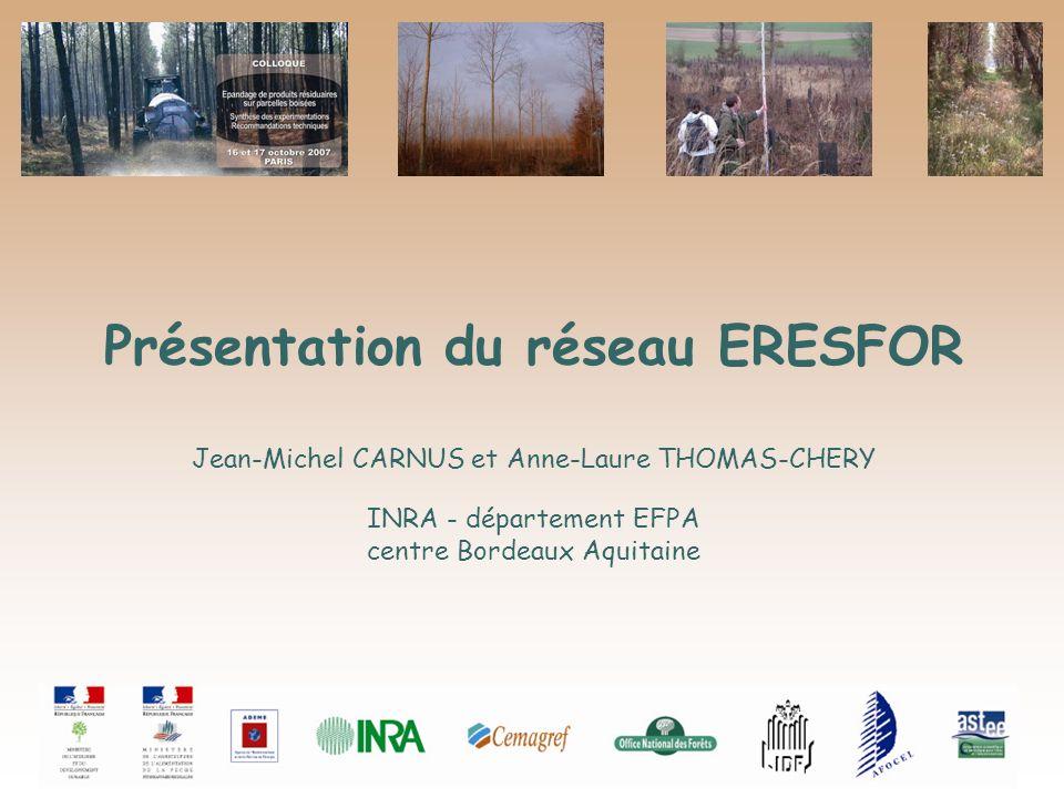 Présentation du réseau ERESFOR Jean-Michel CARNUS et Anne-Laure THOMAS-CHERY INRA - département EFPA centre Bordeaux Aquitaine