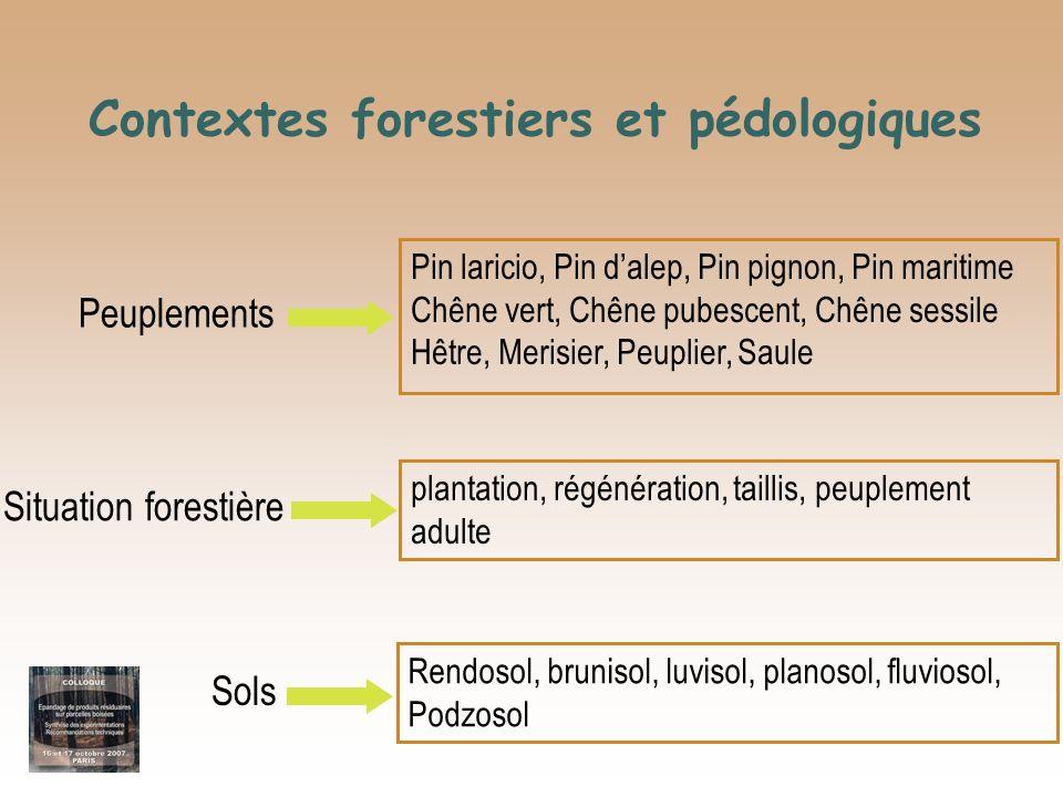 Contextes forestiers et pédologiques Pin laricio, Pin dalep, Pin pignon, Pin maritime Chêne vert, Chêne pubescent, Chêne sessile Hêtre, Merisier, Peup