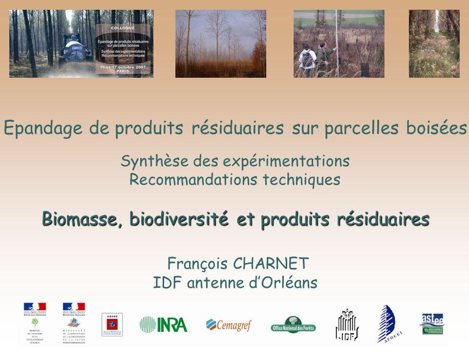 Epandage de produits résiduaires sur parcelles boisées Synthèse des expérimentations Biomasse, biodiversité et produits résiduaires Recommandations te