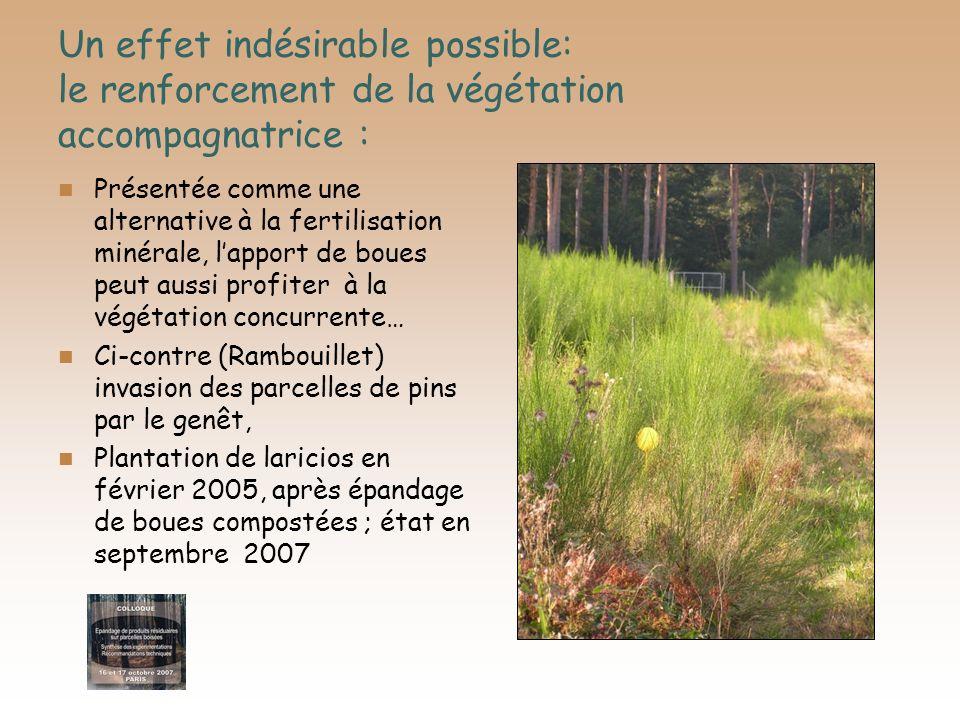 Un effet indésirable possible: le renforcement de la végétation accompagnatrice : Présentée comme une alternative à la fertilisation minérale, lapport