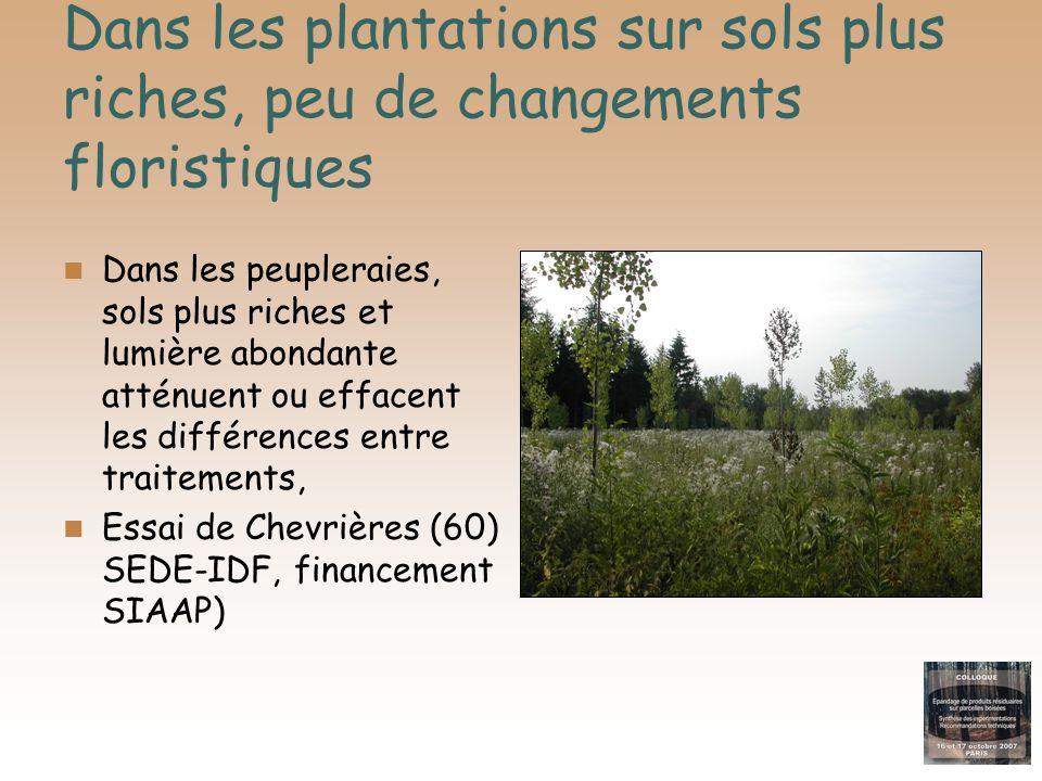 Dans les plantations sur sols plus riches, peu de changements floristiques Dans les peupleraies, sols plus riches et lumière abondante atténuent ou ef