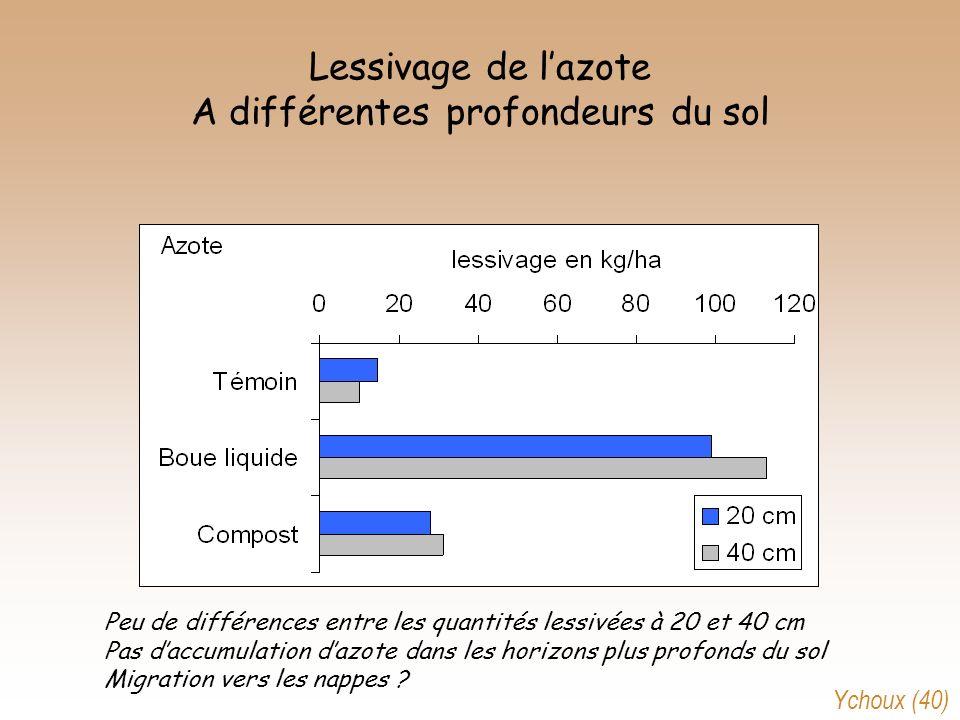 Lessivage de lazote A différentes profondeurs du sol Peu de différences entre les quantités lessivées à 20 et 40 cm Pas daccumulation dazote dans les