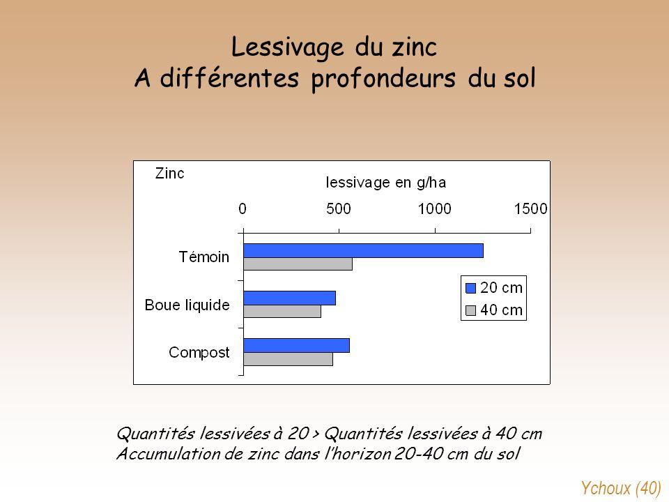 Lessivage du zinc A différentes profondeurs du sol Quantités lessivées à 20 > Quantités lessivées à 40 cm Accumulation de zinc dans lhorizon 20-40 cm