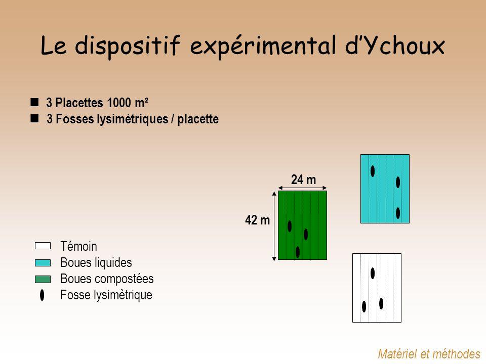 3 Placettes 1000 m² 3 Fosses lysimètriques / placette Témoin Boues liquides Boues compostées Fosse lysimètrique 24 m 42 m Matériel et méthodes Le disp