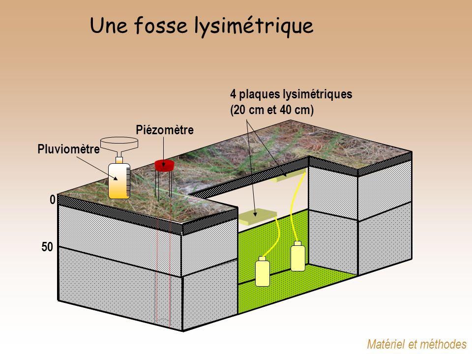 Une fosse lysimétrique Piézomètre 4 plaques lysimétriques (20 cm et 40 cm) 0 50 Pluviomètre Matériel et méthodes