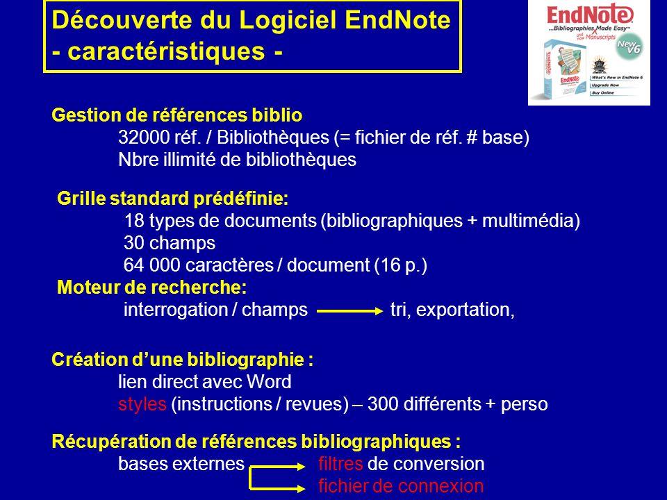 Découverte du Logiciel EndNote - caractéristiques - Gestion de références biblio 32000 réf. / Bibliothèques (= fichier de réf. # base) Nbre illimité d