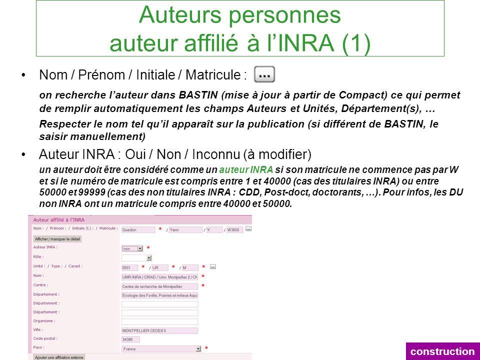 Auteurs personnes auteur affilié à lINRA (1) Nom / Prénom / Initiale / Matricule : on recherche lauteur dans BASTIN (mise à jour à partir de Compact)
