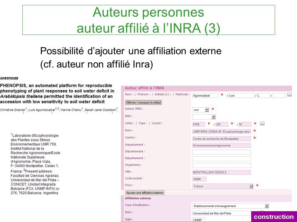 Auteurs personnes auteur affilié à lINRA (3) Possibilité dajouter une affiliation externe (cf. auteur non affilié Inra) construction