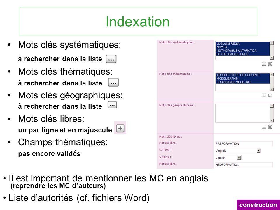 Indexation Mots clés systématiques: à rechercher dans la liste Mots clés thématiques: à rechercher dans la liste Mots clés géographiques: à rechercher