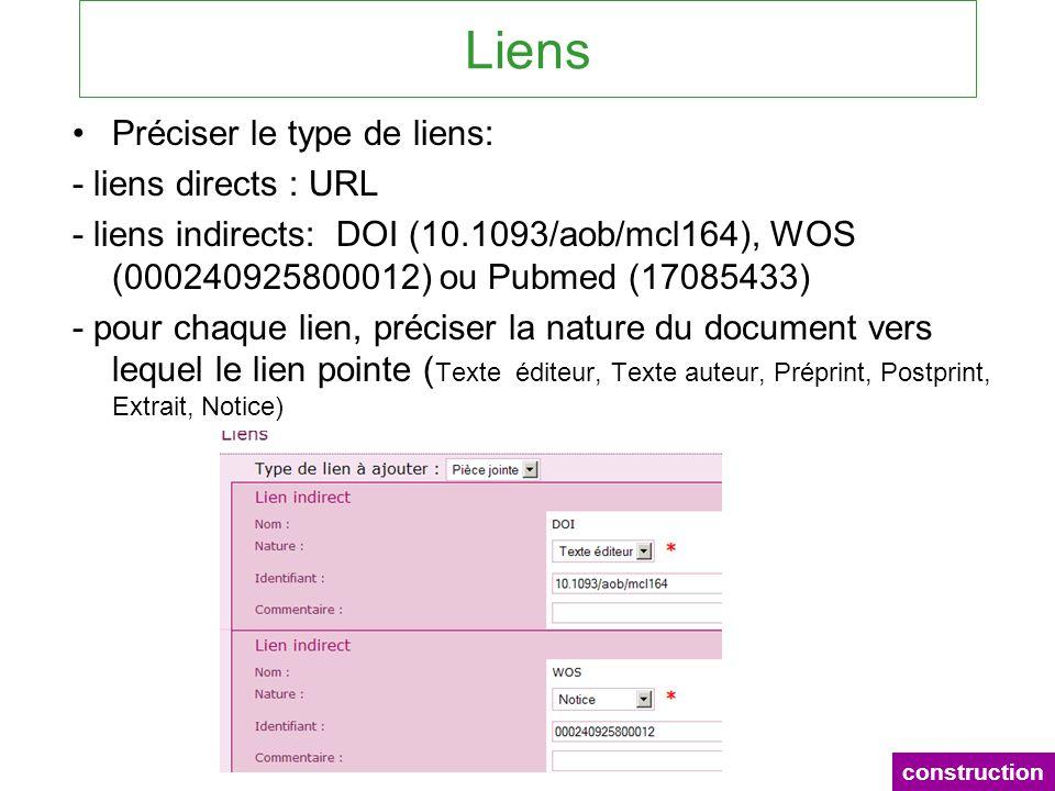 Liens Préciser le type de liens: - liens directs : URL - liens indirects: DOI (10.1093/aob/mcl164), WOS (000240925800012) ou Pubmed (17085433) - pour