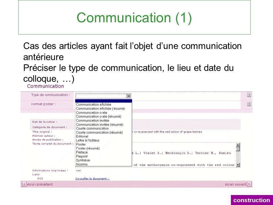 Communication (1) construction Cas des articles ayant fait lobjet dune communication antérieure Préciser le type de communication, le lieu et date du