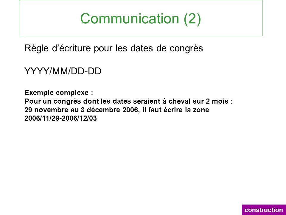 Communication (2) construction Règle décriture pour les dates de congrès YYYY/MM/DD-DD Exemple complexe : Pour un congrès dont les dates seraient à ch