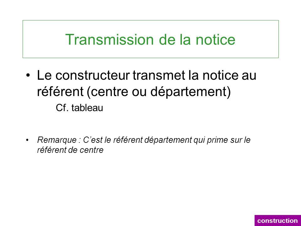 Transmission de la notice Le constructeur transmet la notice au référent (centre ou département) Cf. tableau Remarque : Cest le référent département q