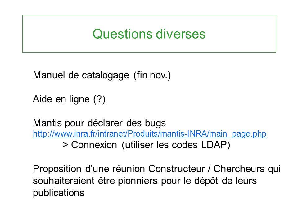 Questions diverses Manuel de catalogage (fin nov.) Aide en ligne (?) Mantis pour déclarer des bugs http://www.inra.fr/intranet/Produits/mantis-INRA/ma