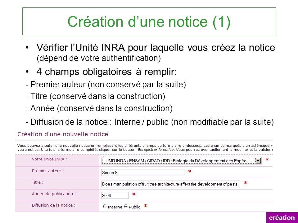 Création dune notice (1) Vérifier lUnité INRA pour laquelle vous créez la notice (dépend de votre authentification) 4 champs obligatoires à remplir: -