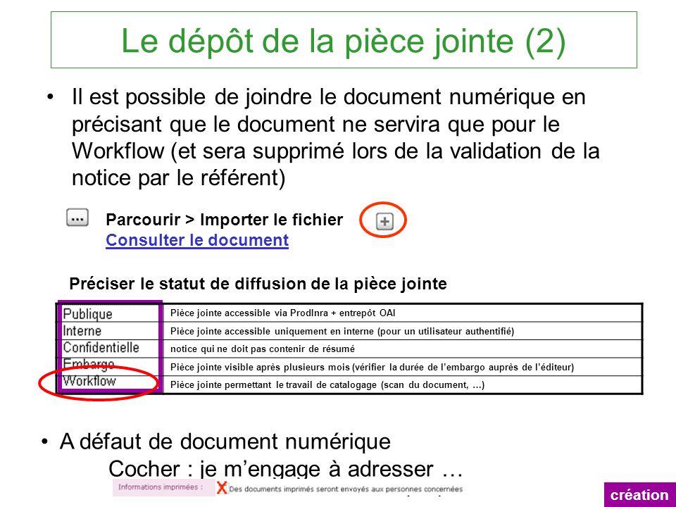 Le dépôt de la pièce jointe (2) création A défaut de document numérique Cocher : je mengage à adresser … Il est possible de joindre le document numéri
