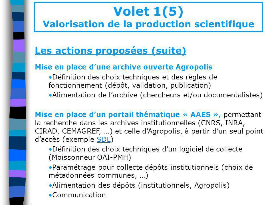 Les actions proposées (suite) Mise en place dune archive ouverte Agropolis Définition des choix techniques et des règles de fonctionnement (dépôt, val