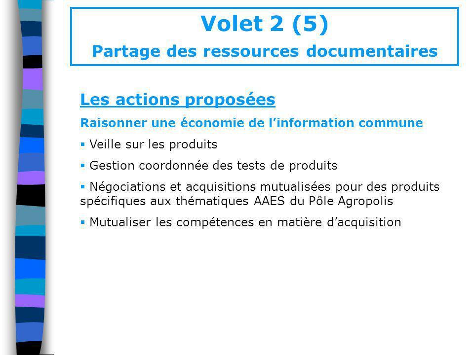 Volet 2 (5) Partage des ressources documentaires Les actions proposées Raisonner une économie de linformation commune Veille sur les produits Gestion