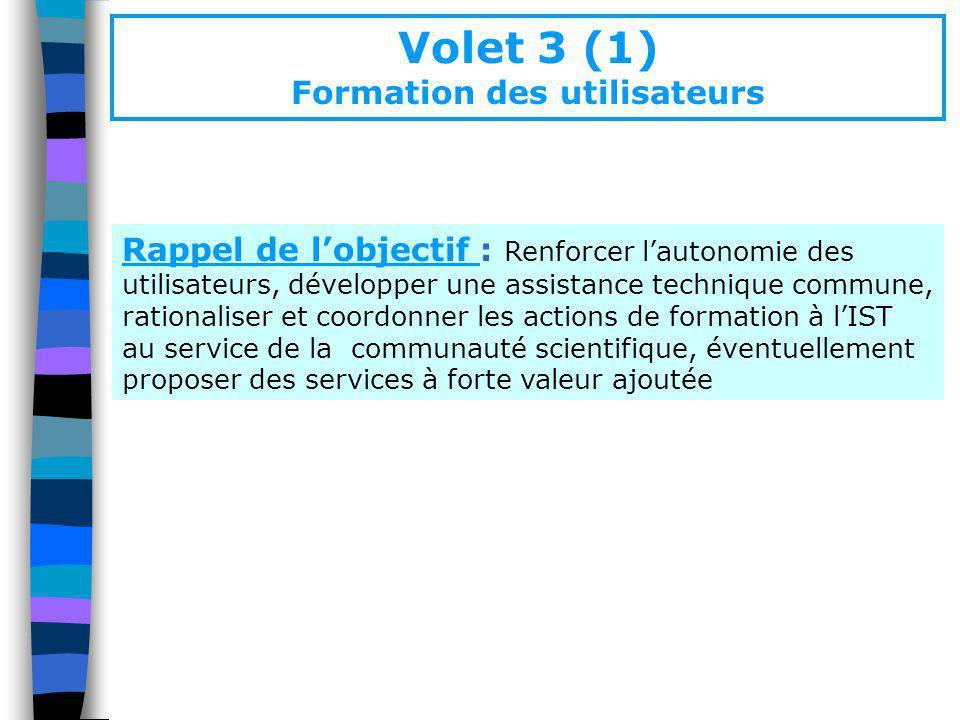 Volet 3 (1) Formation des utilisateurs Rappel de lobjectif : Renforcer lautonomie des utilisateurs, développer une assistance technique commune, ratio