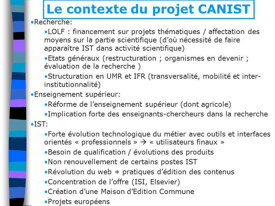 Recherche: LOLF : financement sur projets thématiques / affectation des moyens sur la partie scientifique (doù nécessité de faire apparaître IST dans