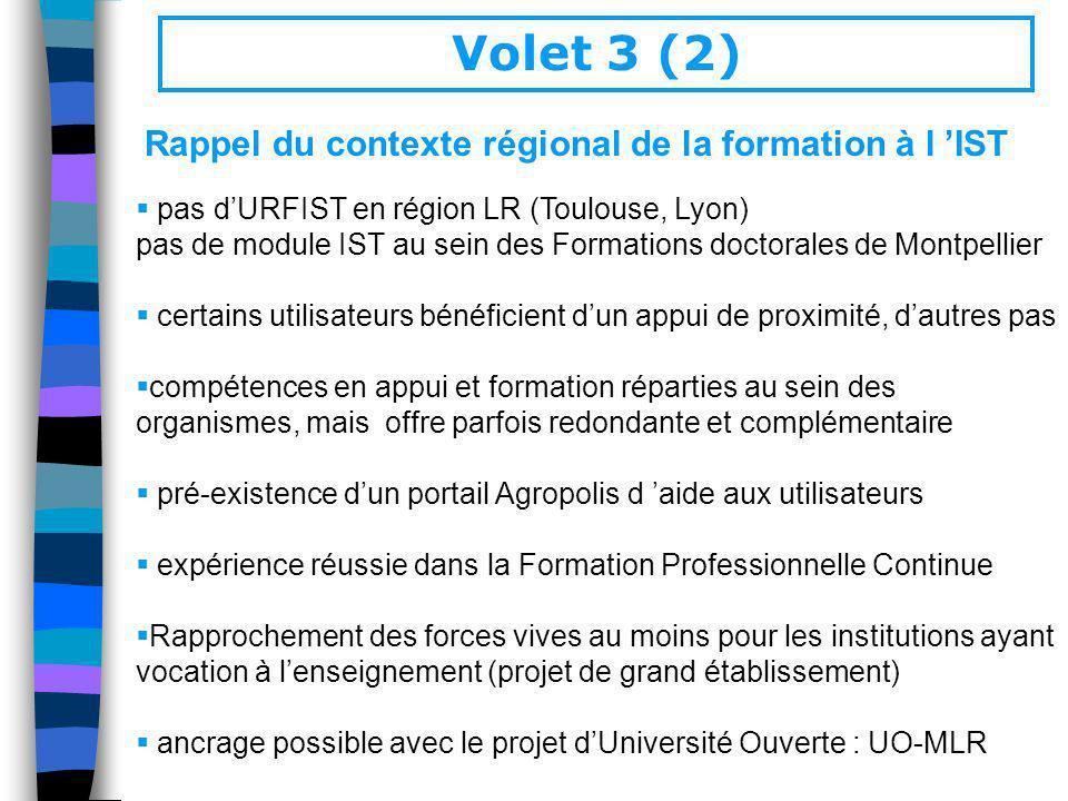Rappel du contexte régional de la formation à l IST pas dURFIST en région LR (Toulouse, Lyon) pas de module IST au sein des Formations doctorales de M