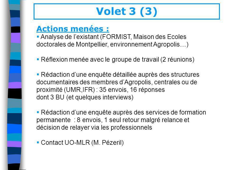 Volet 3 (3) Actions menées : Analyse de lexistant (FORMIST, Maison des Ecoles doctorales de Montpellier, environnement Agropolis…) Réflexion menée ave